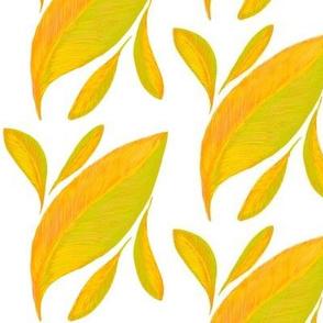 A Drift of Golden Leaves on White