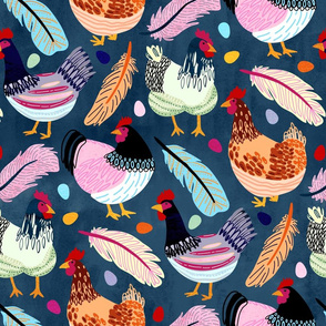 Trendy Chickens (Large Version)