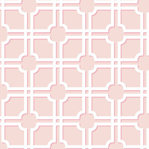 Lattice Gate // White on Blush with Bubblegum Shadows