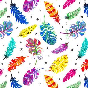 Rainbow Feathers White Ground