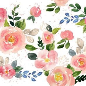Pink Garden Roses // White