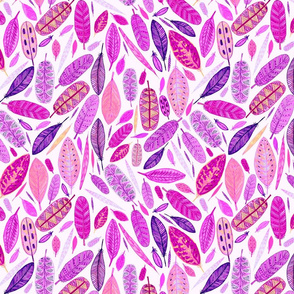 Watercolored Feathers, Hot pink, large