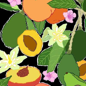 Avocado + Peach Stone Fruit Floral in Black