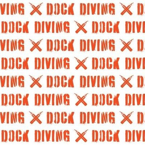Dog Diving Text on White