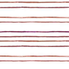 Take Flight Watercolor Stripes in Raspberry on White
