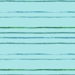 Take Flight Watercolor Stripes in Teal on blue