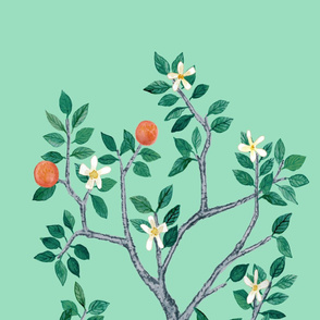 Citrus Grove Mural Orange Tree Panel B in Domino Green