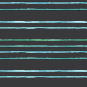 Take Flight Watercolor Stripes in Teal on Charcoal