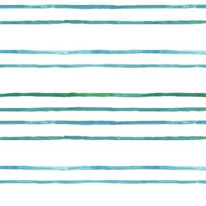 Take Flight Watercolor Stripes in Teal on White