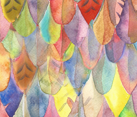watercolor feathers fabric by lierre on Spoonflower - custom fabric