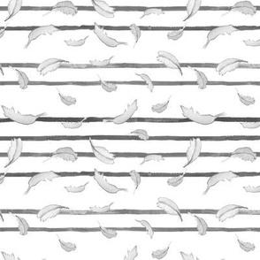 Take Flight Feather Stripe Black and White
