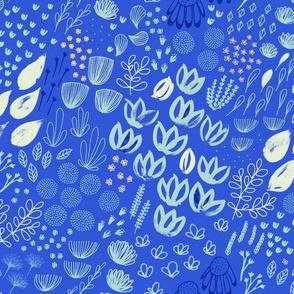 Moody Mod Floral M+M Cobalt Medium Scale by Friztin