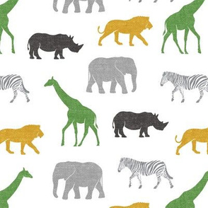 Safari animals - multi gold, green, grey  - elephant, giraffe, rhino, zebra C19BS