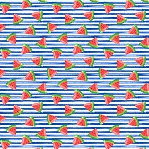 (micro scale) watermelons (red on blue stripes) - summer fruit fabric - LAD19BS