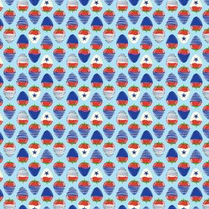(micro scale) chocolate covered strawberries -  blue on light blue - red white and blue LAD19BS