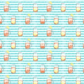 """(3/4"""" scale) sweet tea - summer time drinks on blue stripes C19BS"""