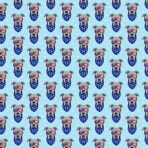 "(3/4"" scale) patriotic Pit Bull on blue C19BS"