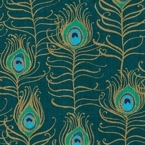 Peacock Feather Nouveau {Emerald}