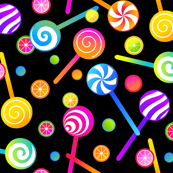 Lollipops and Candies Black/Smaller