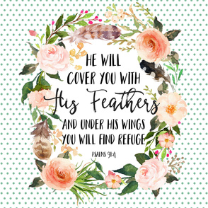 "54""x72"" He will cover you with his feathers"