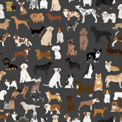 LARGE - dogs -  dog fabric lots of breeds cute dogs best dog fabric best dogs cute dog breed design dog owners will love this cute dog fabric - charcoal