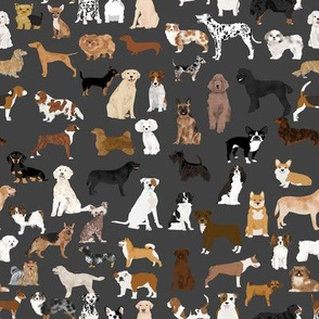 dog fabric -  dog fabric lots of breeds cute dogs best dog fabric best dogs cute dog breed design dog owners will love this cute dog fabric - charcoal
