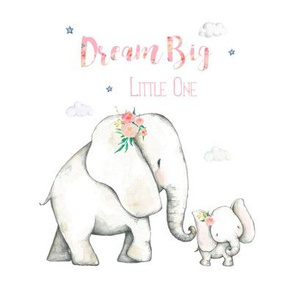 "8"" Dream Big Little One / Pink Floral Elephant"