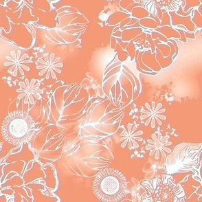 Frosted floral apricot