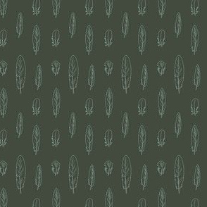 Budgie Feathers line drawings - Forest Green