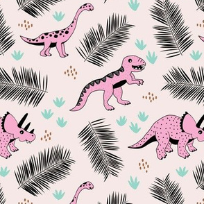 Dino friends and palm leaves jungle tropical summer design pink mint