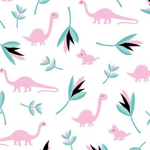 Little Dino jungle birds of paradise flowers and leaves summer pastel girls pink white