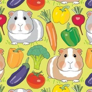 guinea-pigs-and-veggies-on-green