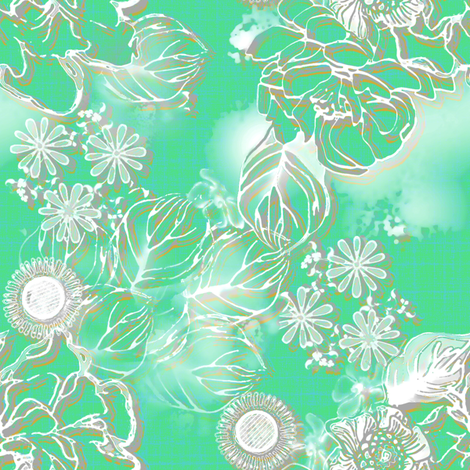 Frosted floral Paris Green fabric by joanmclemore on Spoonflower - custom fabric