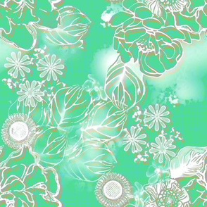 Frosted floral Paris Green
