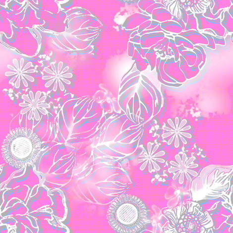 Frosted floral fuschia fabric by joanmclemore on Spoonflower - custom fabric