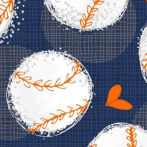 Baseball Lovers Unite! Blue and Orange Large Scale
