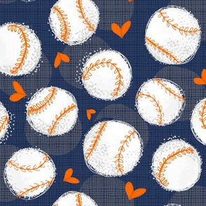Baseball Lovers Unite! Blue and Orange Medium Scale