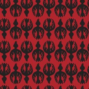 Tglingit Raven:  Black on Red-small version