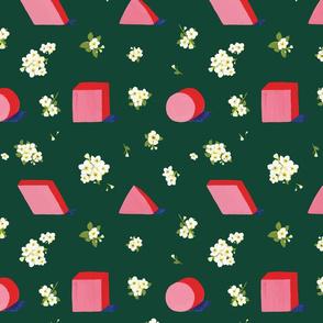 Floral Geometric Green