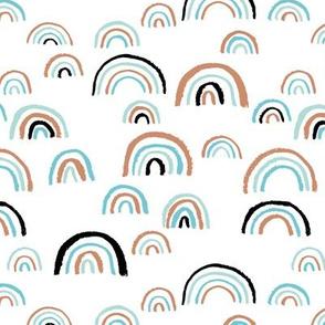 Scandinavian abstract rainbow sky gender neutral beach summer blue copper rust black and white boys