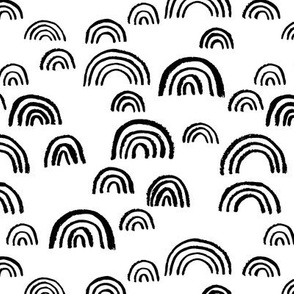 Black and white Scandinavian abstract rainbow sky gender neutral monochrome curve