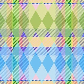 Argyle & Tartan #3 - pastel green, blue, purple