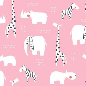 Animals from Africa in pink
