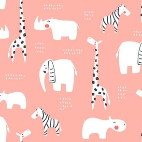 Animals from Africa in coral