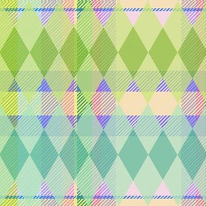 Argyle & Tartan #9 - lime green, mint, teal