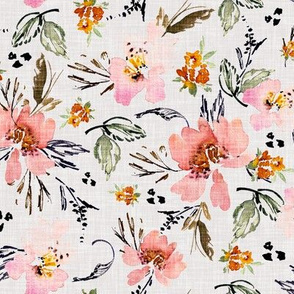 Bohemian floral linen watercolour flowers
