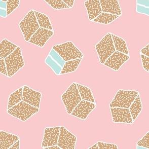 little aussie lamingtons - blush pink + tan + mint