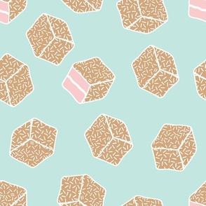 little aussie lamingtons - mint + tan + blush pink