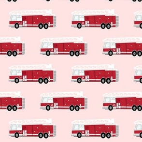 fire trucks - dark red on pink C19BS