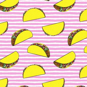(small scale) tacos on pink stripes C19BS